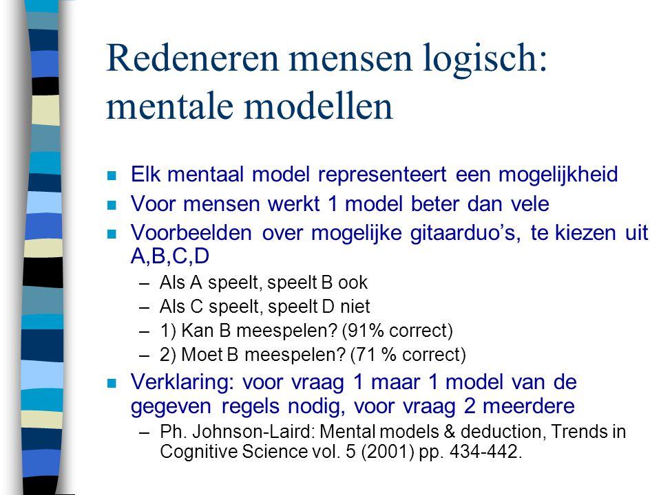 Redeneren mensen logisch: mentale modellen n Elk mentaal model representeert een mogelijkheid n Voor mensen werkt 1 model beter dan vele n Voorbeelden over mogelijke gitaarduo's, te kiezen uit A,B,C,D –Als A speelt, speelt B ook –Als C speelt, speelt D niet –1) Kan B meespelen.