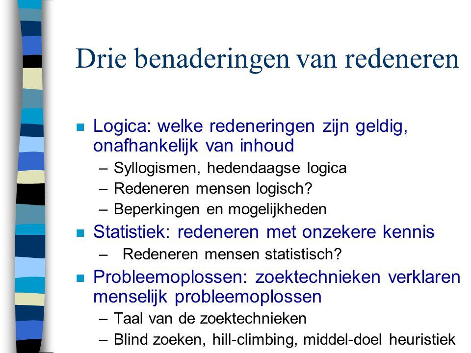 Drie benaderingen van redeneren n Logica: welke redeneringen zijn geldig, onafhankelijk van inhoud –Syllogismen, hedendaagse logica –Redeneren mensen logisch.