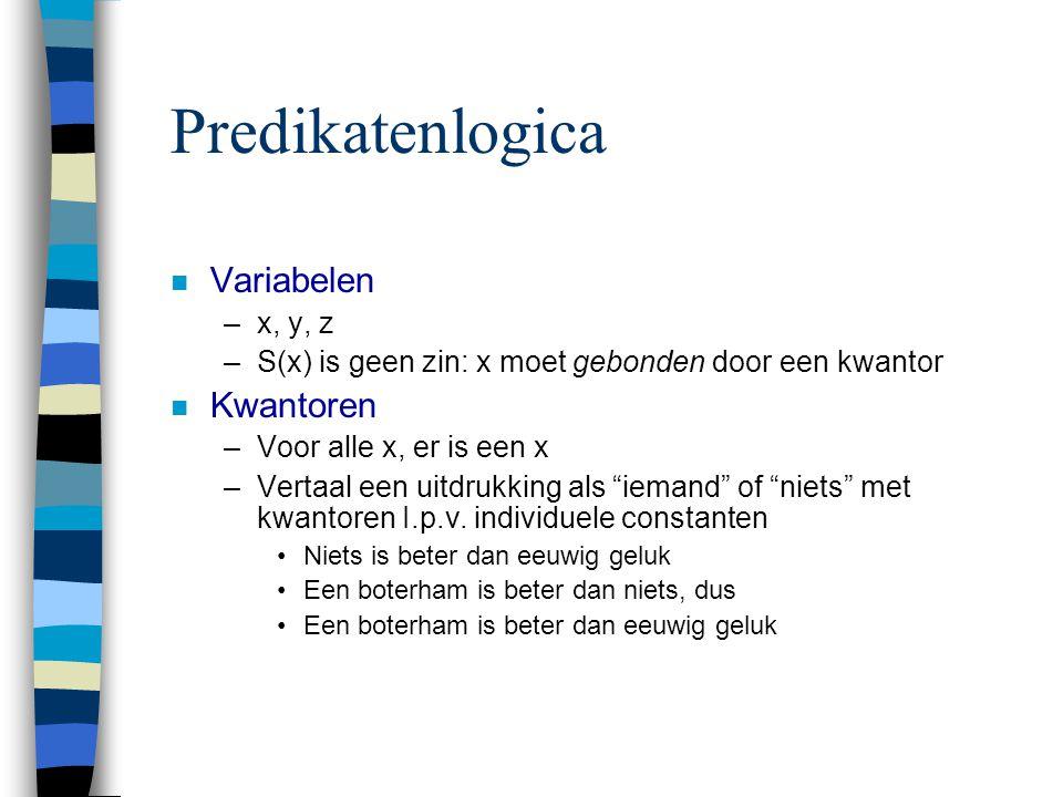 Predikatenlogica n Variabelen –x, y, z –S(x) is geen zin: x moet gebonden door een kwantor n Kwantoren –Voor alle x, er is een x –Vertaal een uitdrukk