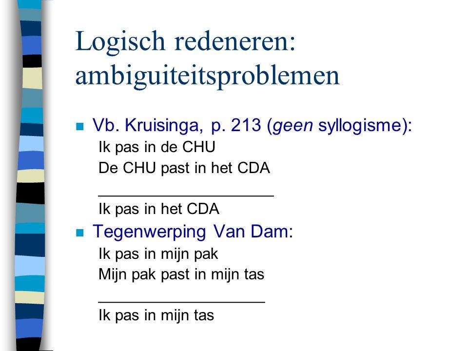 Logisch redeneren: ambiguiteitsproblemen n Vb. Kruisinga, p. 213 (geen syllogisme): Ik pas in de CHU De CHU past in het CDA ____________________ Ik pa