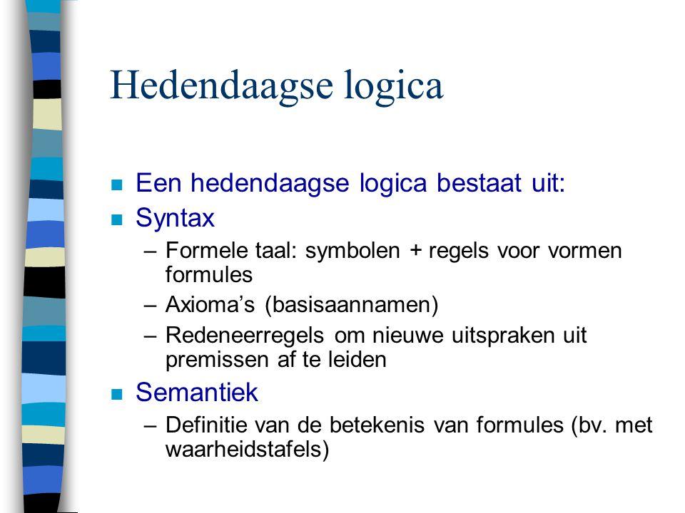 Hedendaagse logica n Een hedendaagse logica bestaat uit: n Syntax –Formele taal: symbolen + regels voor vormen formules –Axioma's (basisaannamen) –Red