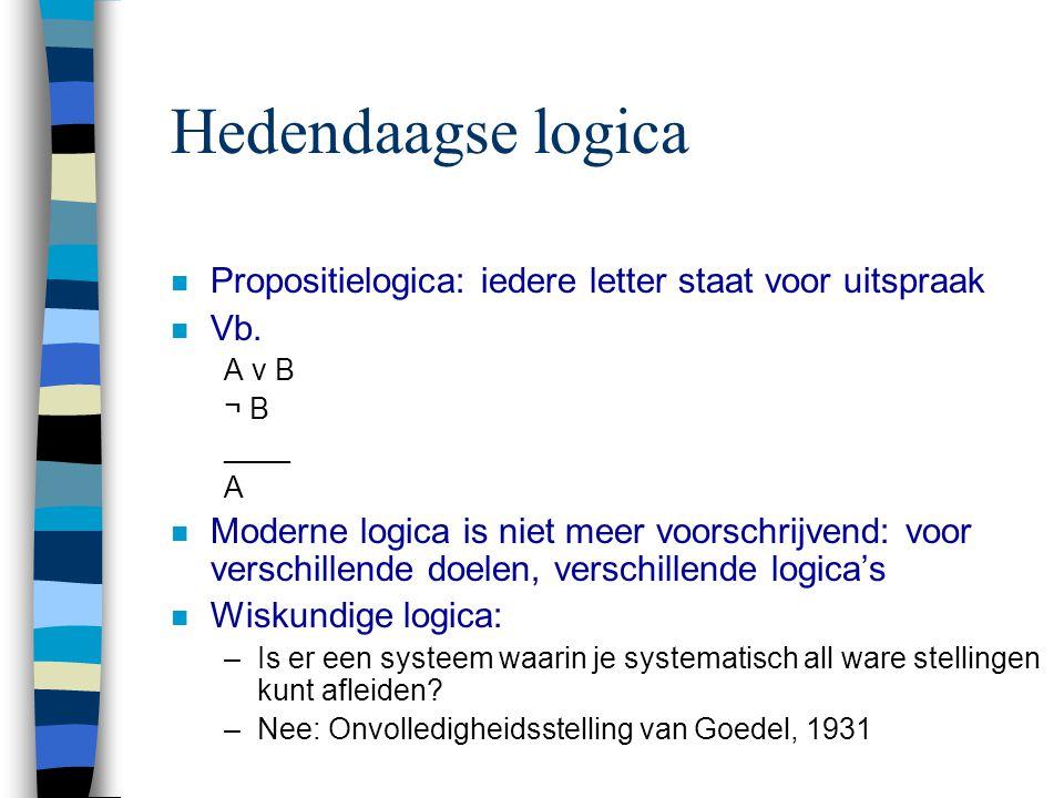 Hedendaagse logica n Propositielogica: iedere letter staat voor uitspraak n Vb. A v B ¬ B ____ A n Moderne logica is niet meer voorschrijvend: voor ve