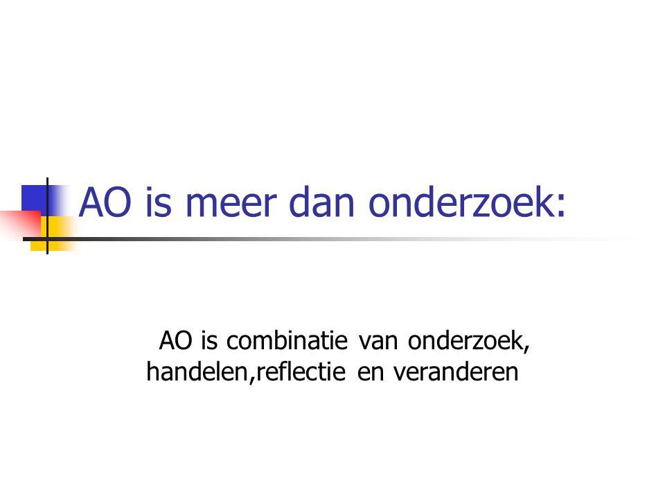 AO is niet eenvoudig Eist veel van onderzoeker(team) (meerdere processen) (spanningsveld opdrachtgever, betrokkenen en onderzochten) Vereisten: onderzoeksvaardigheden en sociale, communicatieve, reflectieve en agogische vaardigheden