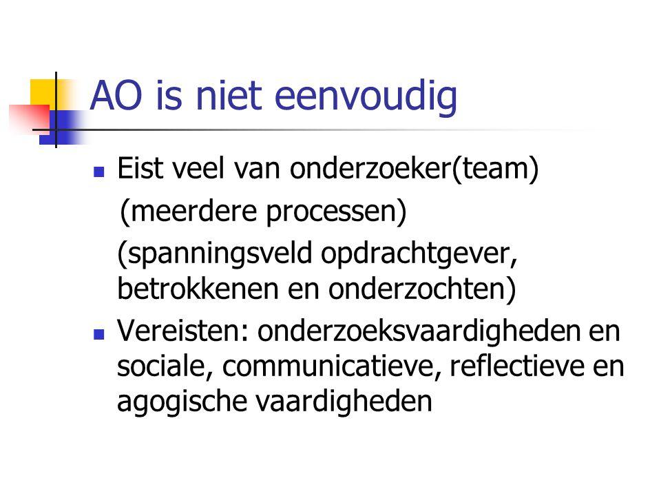 AO is niet eenvoudig Eist veel van onderzoeker(team) (meerdere processen) (spanningsveld opdrachtgever, betrokkenen en onderzochten) Vereisten: onderz