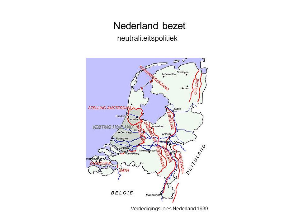 Nederland bezet neutraliteitspolitiek Verdedigingslinies Nederland 1939