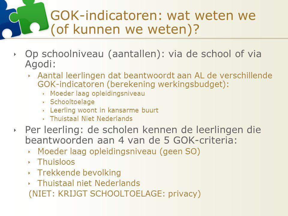 GOK-indicatoren: wat weten we (of kunnen we weten)?  Op schoolniveau (aantallen): via de school of via Agodi:  Aantal leerlingen dat beantwoordt aan