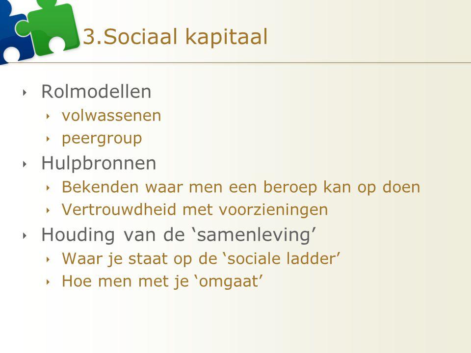 3.Sociaal kapitaal  Rolmodellen  volwassenen  peergroup  Hulpbronnen  Bekenden waar men een beroep kan op doen  Vertrouwdheid met voorzieningen
