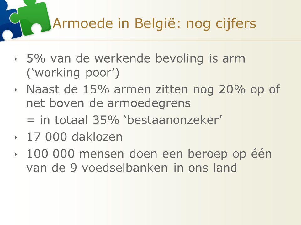 Armoede in België: nog cijfers  5% van de werkende bevoling is arm ('working poor')  Naast de 15% armen zitten nog 20% op of net boven de armoedegre