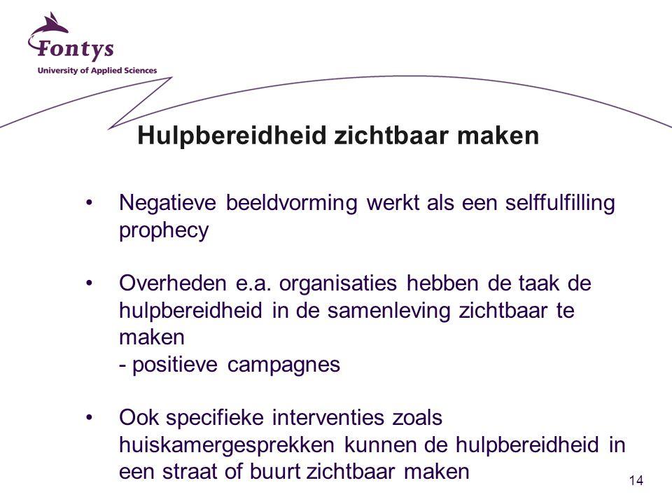 14 Hulpbereidheid zichtbaar maken Negatieve beeldvorming werkt als een selffulfilling prophecy Overheden e.a. organisaties hebben de taak de hulpberei