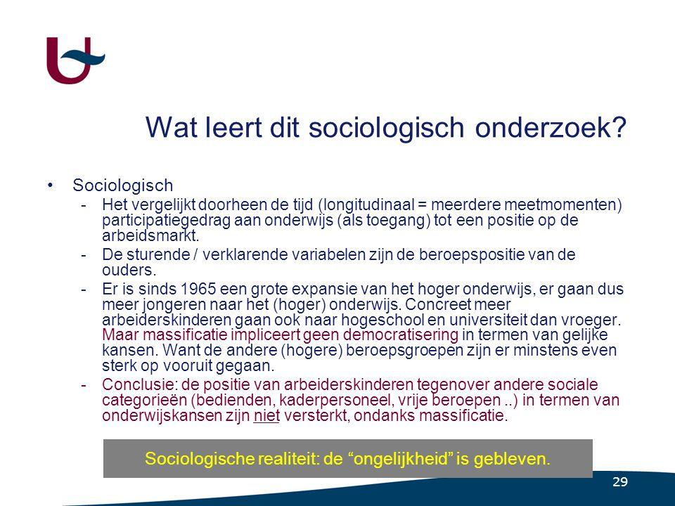 29 Wat leert dit sociologisch onderzoek.