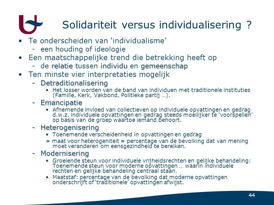 44 Solidariteit versus individualisering .