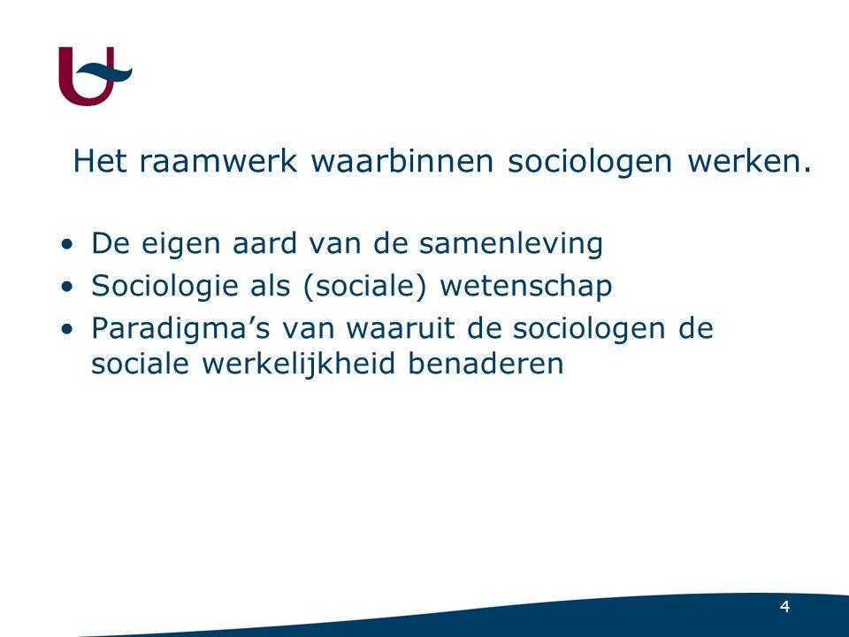 4 Het raamwerk waarbinnen sociologen werken.