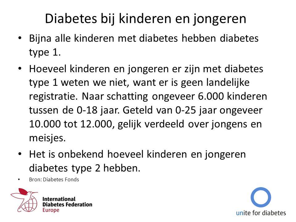 Diabetes bij kinderen en jongeren Bijna alle kinderen met diabetes hebben diabetes type 1. Hoeveel kinderen en jongeren er zijn met diabetes type 1 we
