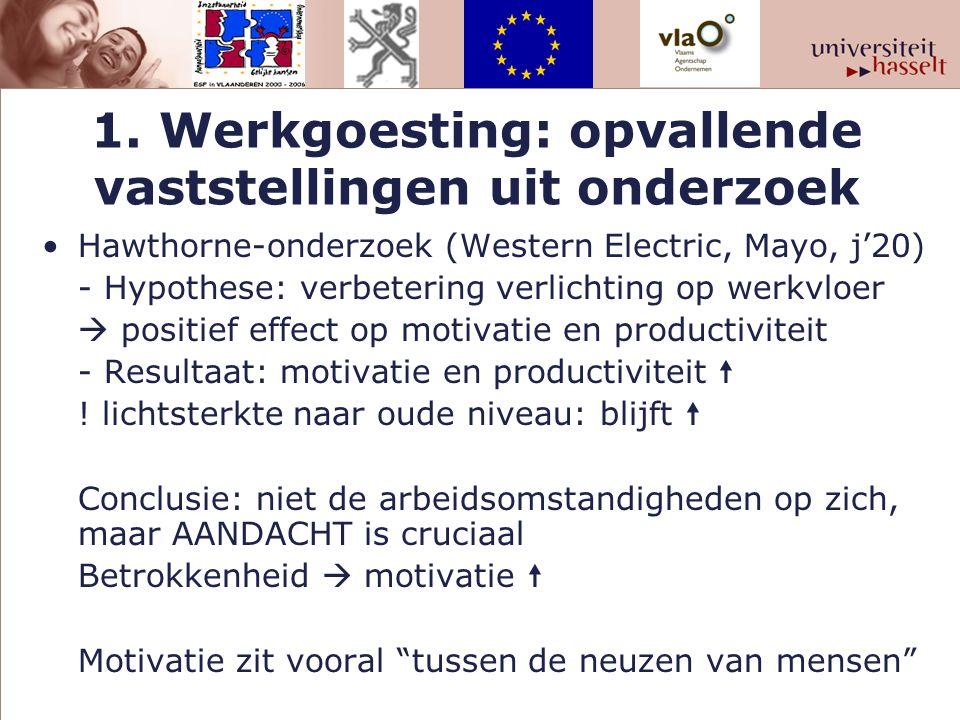 1. Werkgoesting: opvallende vaststellingen uit onderzoek Hawthorne-onderzoek (Western Electric, Mayo, j'20) - Hypothese: verbetering verlichting op we