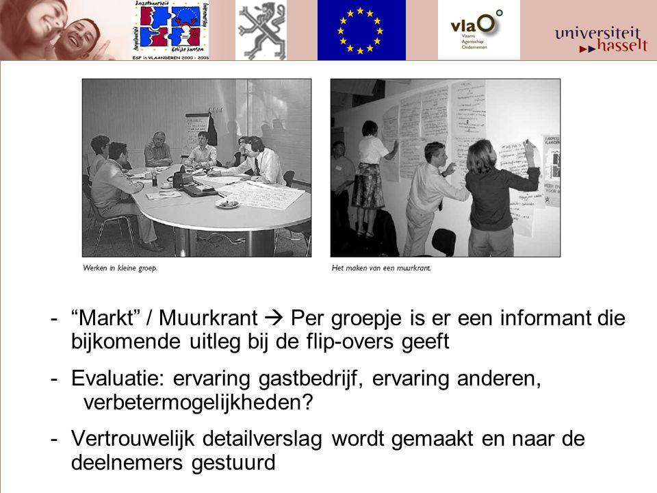 - Markt / Muurkrant  Per groepje is er een informant die bijkomende uitleg bij de flip-overs geeft -Evaluatie: ervaring gastbedrijf, ervaring anderen, verbetermogelijkheden.