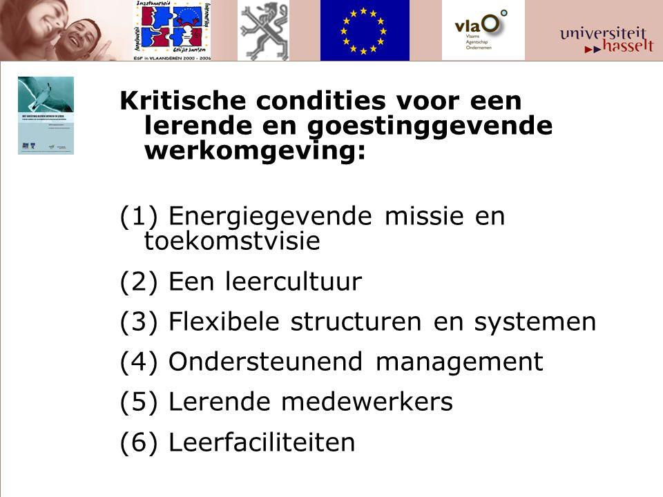 Kritische condities voor een lerende en goestinggevende werkomgeving: (1) Energiegevende missie en toekomstvisie (2) Een leercultuur (3) Flexibele structuren en systemen (4) Ondersteunend management (5) Lerende medewerkers (6) Leerfaciliteiten