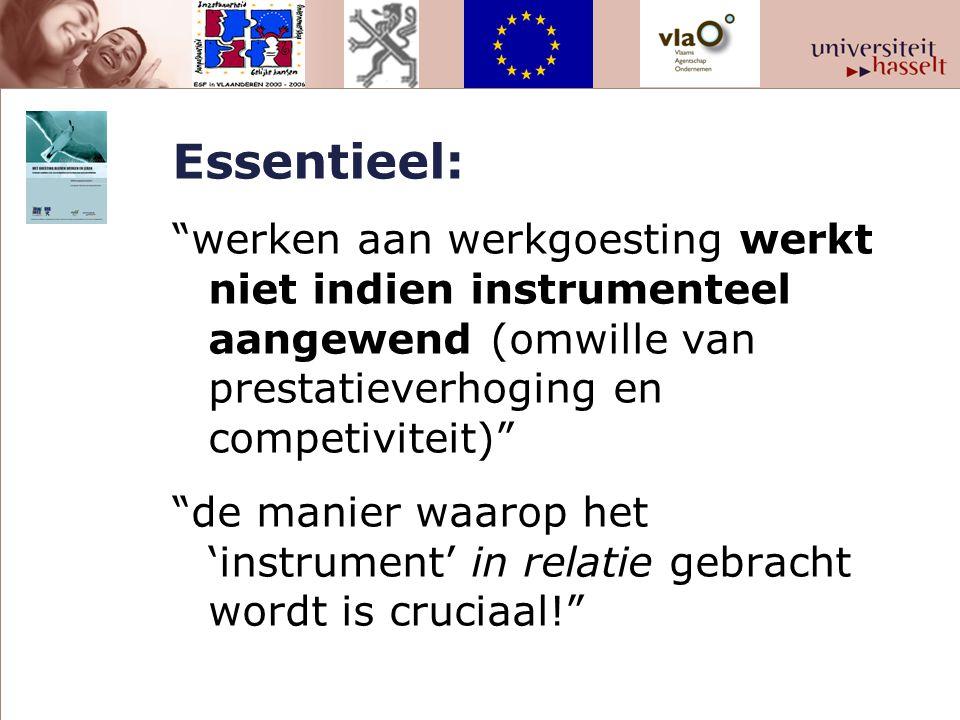 Essentieel: werken aan werkgoesting werkt niet indien instrumenteel aangewend (omwille van prestatieverhoging en competiviteit) de manier waarop het 'instrument' in relatie gebracht wordt is cruciaal!