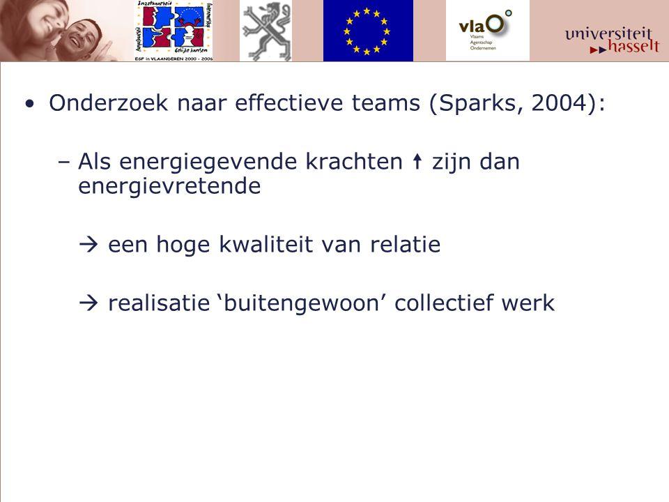 Onderzoek naar effectieve teams (Sparks, 2004): –Als energiegevende krachten  zijn dan energievretende  een hoge kwaliteit van relatie  realisatie 'buitengewoon' collectief werk