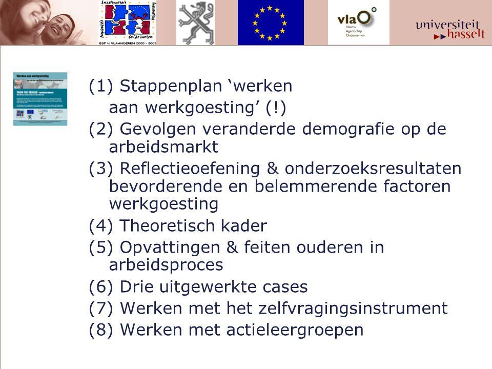 (1) Stappenplan 'werken aan werkgoesting' (!) (2) Gevolgen veranderde demografie op de arbeidsmarkt (3) Reflectieoefening & onderzoeksresultaten bevorderende en belemmerende factoren werkgoesting (4) Theoretisch kader (5) Opvattingen & feiten ouderen in arbeidsproces (6) Drie uitgewerkte cases (7) Werken met het zelfvragingsinstrument (8) Werken met actieleergroepen