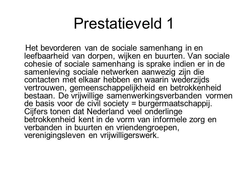 Prestatieveld 1 Het bevorderen van de sociale samenhang in en leefbaarheid van dorpen, wijken en buurten. Van sociale cohesie of sociale samenhang is