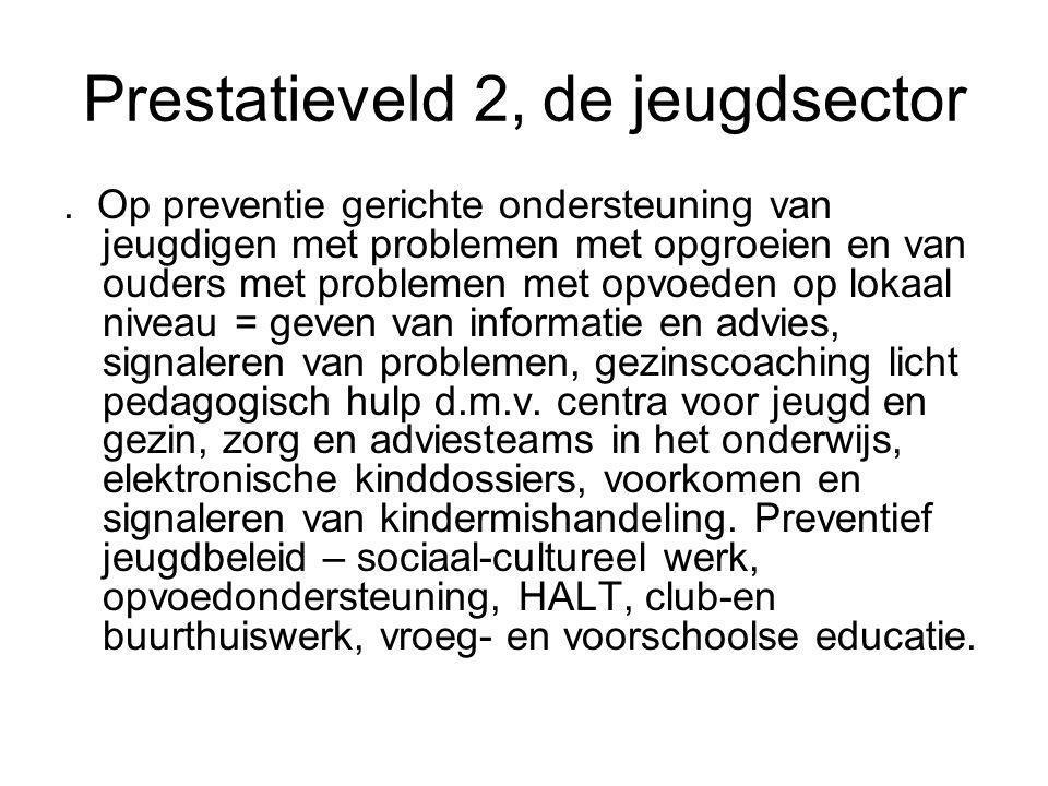 Prestatieveld 2, de jeugdsector. Op preventie gerichte ondersteuning van jeugdigen met problemen met opgroeien en van ouders met problemen met opvoede