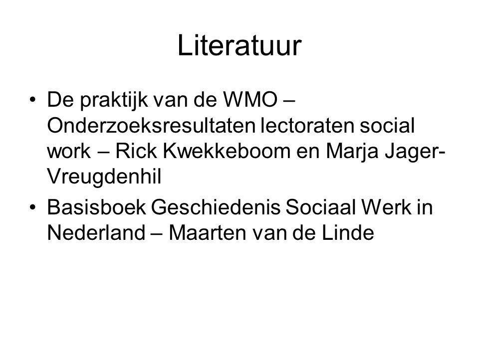 Literatuur De praktijk van de WMO – Onderzoeksresultaten lectoraten social work – Rick Kwekkeboom en Marja Jager- Vreugdenhil Basisboek Geschiedenis S