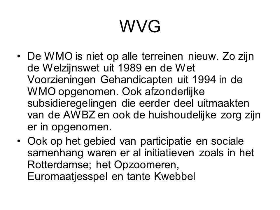 WVG De WMO is niet op alle terreinen nieuw. Zo zijn de Welzijnswet uit 1989 en de Wet Voorzieningen Gehandicapten uit 1994 in de WMO opgenomen. Ook af