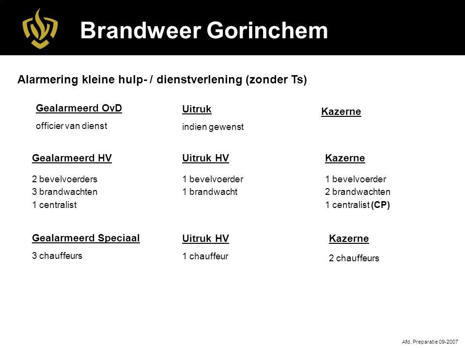 Brandweer Gorinchem Uitruk HV 1 bevelvoerder 1 brandwacht Afd.