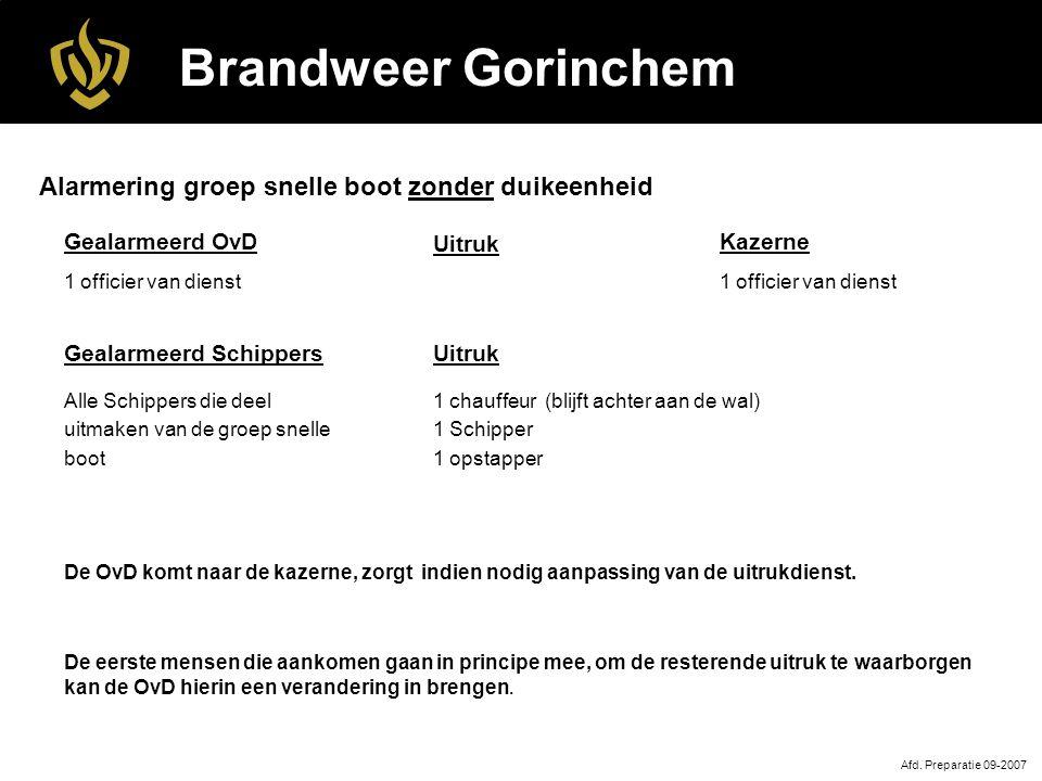 Brandweer Gorinchem Uitruk 1 chauffeur (blijft achter aan de wal) 1 Schipper 1 opstapper Afd.