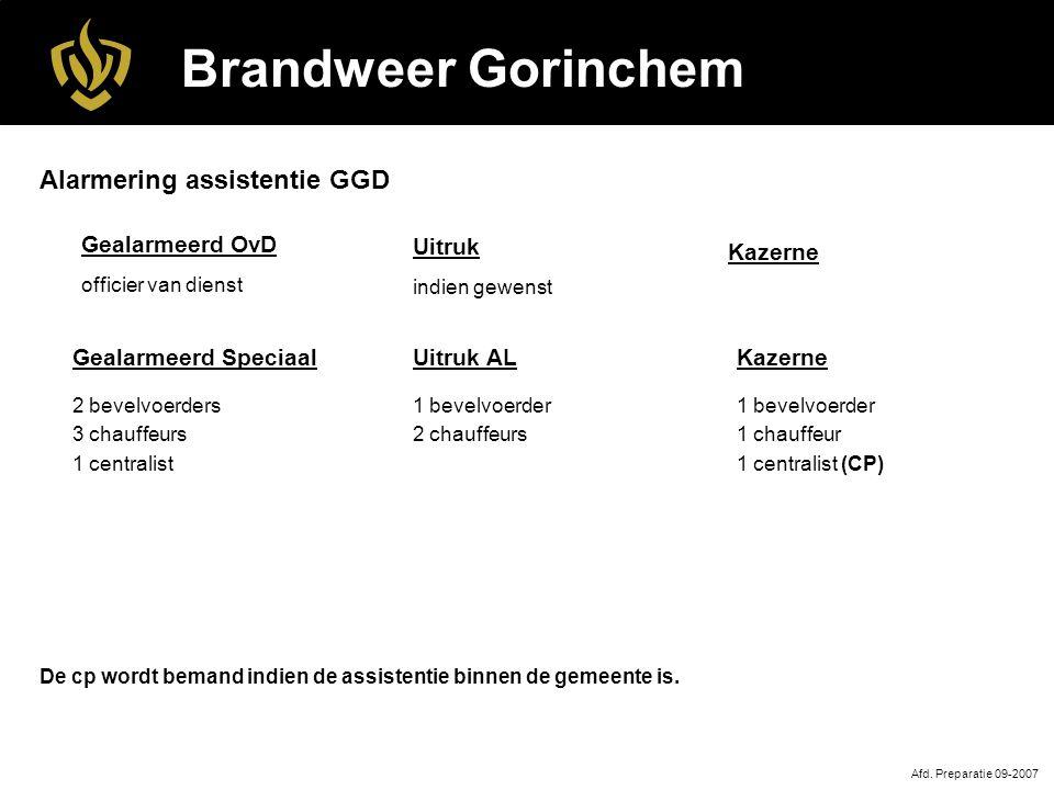 Brandweer Gorinchem Uitruk AL 1 bevelvoerder 2 chauffeurs Afd.