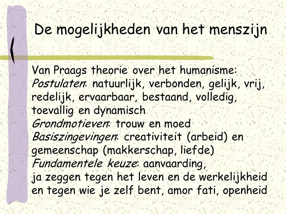 De mogelijkheden van het menszijn Van Praags theorie over het humanisme: Postulaten: natuurlijk, verbonden, gelijk, vrij, redelijk, ervaarbaar, bestaand, volledig, toevallig en dynamisch Grondmotieven: trouw en moed Basiszingevingen: creativiteit (arbeid) en gemeenschap (makkerschap, liefde) Fundamentele keuze: aanvaarding, ja zeggen tegen het leven en de werkelijkheid en tegen wie je zelf bent, amor fati, openheid