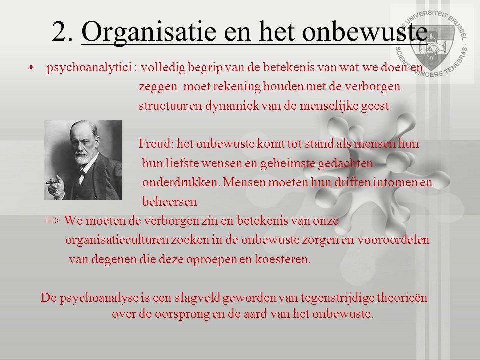 2. Organisatie en het onbewuste psychoanalytici : volledig begrip van de betekenis van wat we doen en zeggen moet rekening houden met de verborgen str