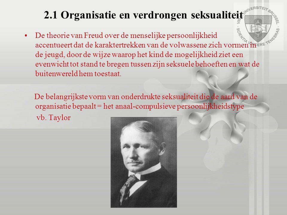 2.1 Organisatie en verdrongen seksualiteit De theorie van Freud over de menselijke persoonlijkheid accentueert dat de karaktertrekken van de volwassen
