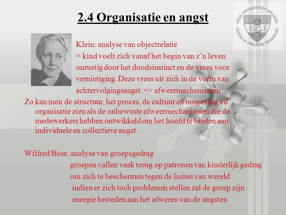 2.4 Organisatie en angst Klein: analyse van objectrelatie = kind voelt zich vanaf het begin van z'n leven onrustig door het doodsinstinct en de vrees