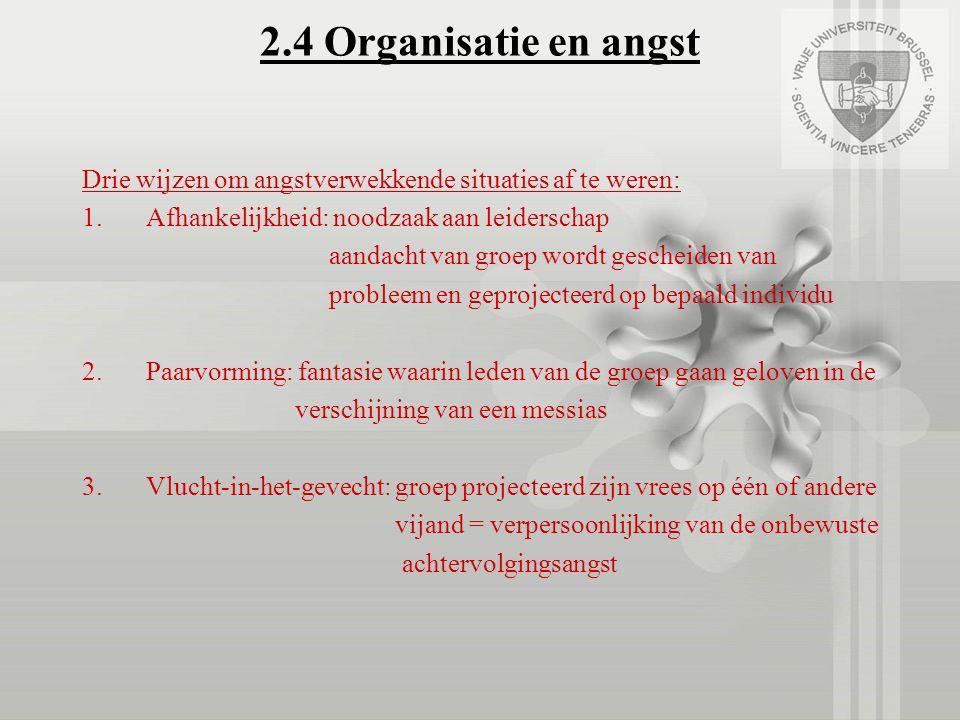 2.4 Organisatie en angst Drie wijzen om angstverwekkende situaties af te weren: 1.Afhankelijkheid: noodzaak aan leiderschap aandacht van groep wordt g