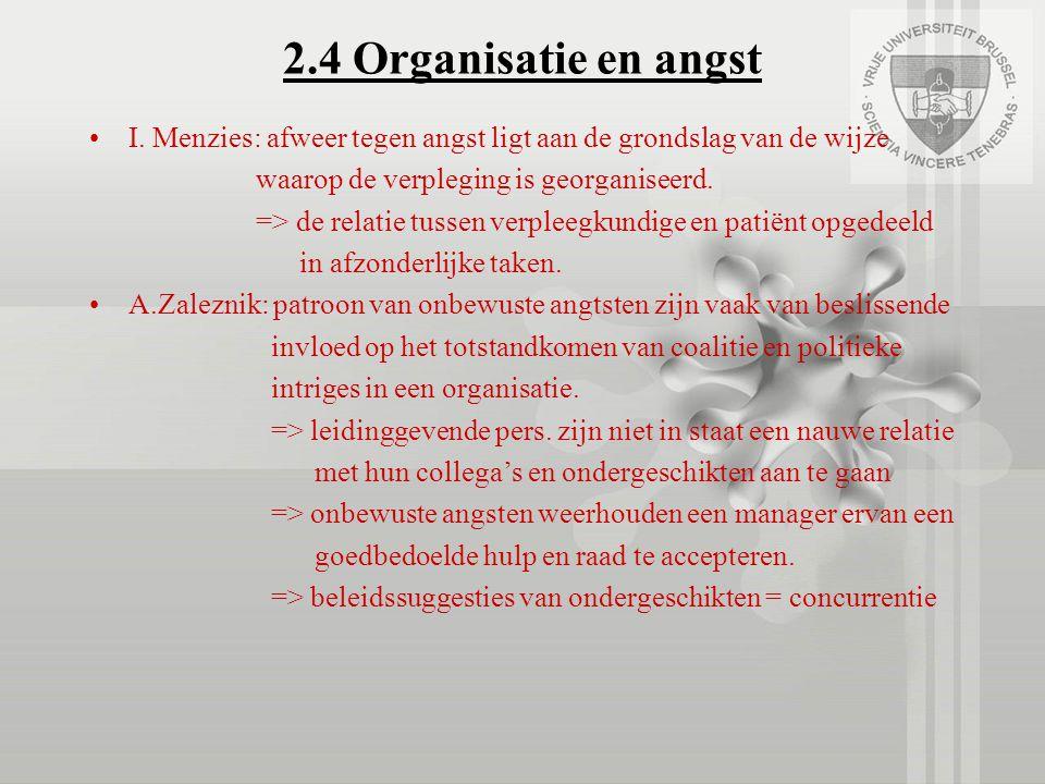 2.4 Organisatie en angst I. Menzies: afweer tegen angst ligt aan de grondslag van de wijze waarop de verpleging is georganiseerd. => de relatie tussen