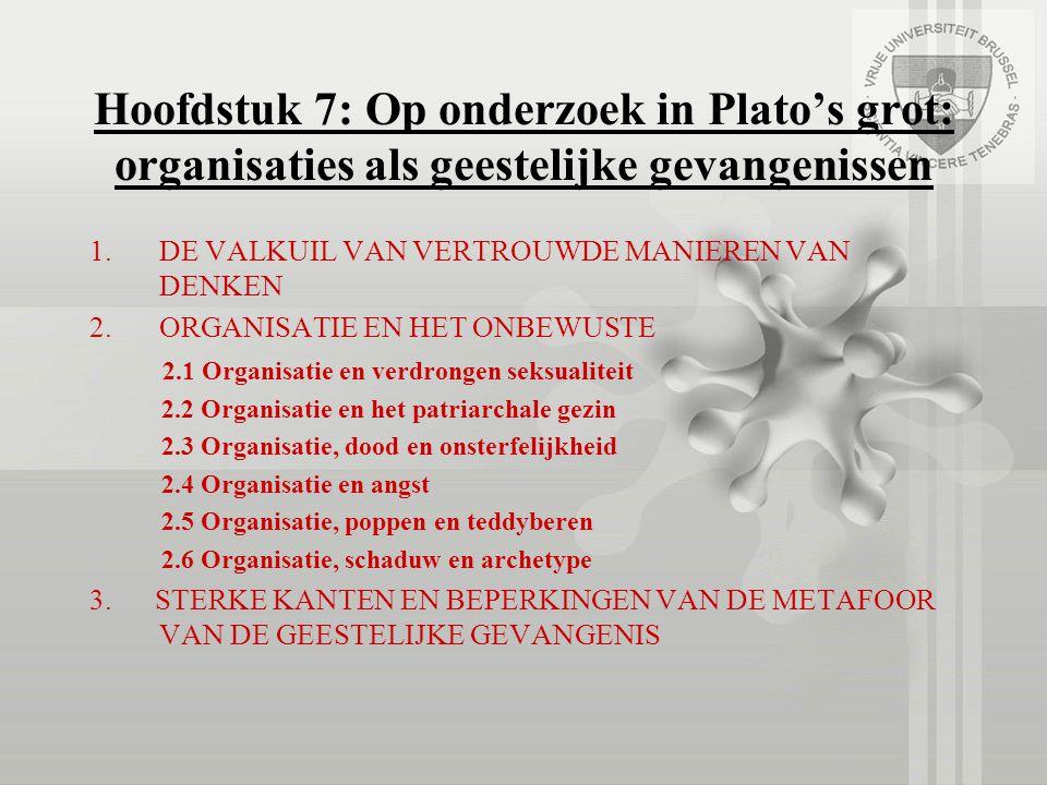 Hoofdstuk 7: Op onderzoek in Plato's grot: organisaties als geestelijke gevangenissen 1.DE VALKUIL VAN VERTROUWDE MANIEREN VAN DENKEN 2.ORGANISATIE EN