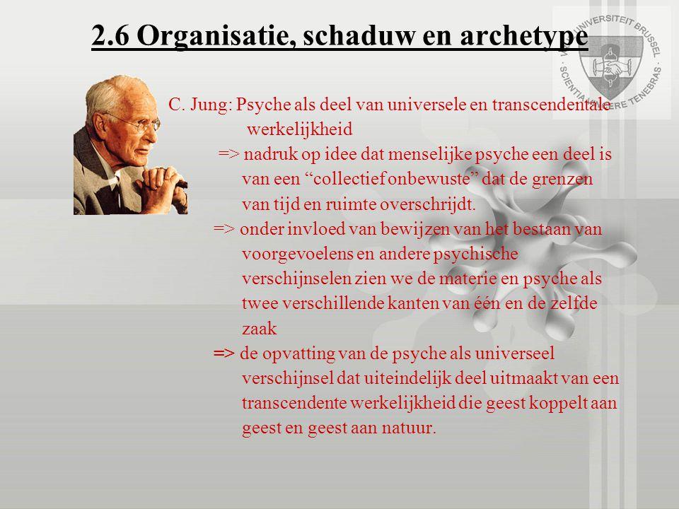 2.6 Organisatie, schaduw en archetype C. Jung: Psyche als deel van universele en transcendentale werkelijkheid => nadruk op idee dat menselijke psyche