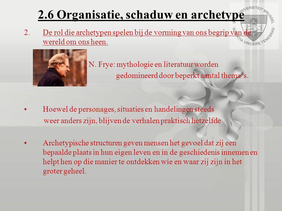 2.6 Organisatie, schaduw en archetype 2.De rol die archetypen spelen bij de vorming van ons begrip van de wereld om ons heen. N. Frye: mythologie en l