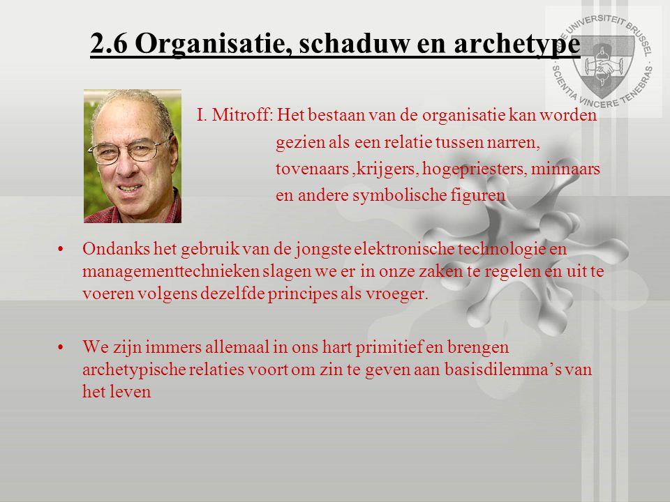 2.6 Organisatie, schaduw en archetype I. Mitroff: Het bestaan van de organisatie kan worden gezien als een relatie tussen narren, tovenaars,krijgers,