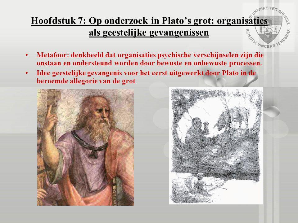 Hoofdstuk 7: Op onderzoek in Plato's grot: organisaties als geestelijke gevangenissen Metafoor: denkbeeld dat organisaties psychische verschijnselen z