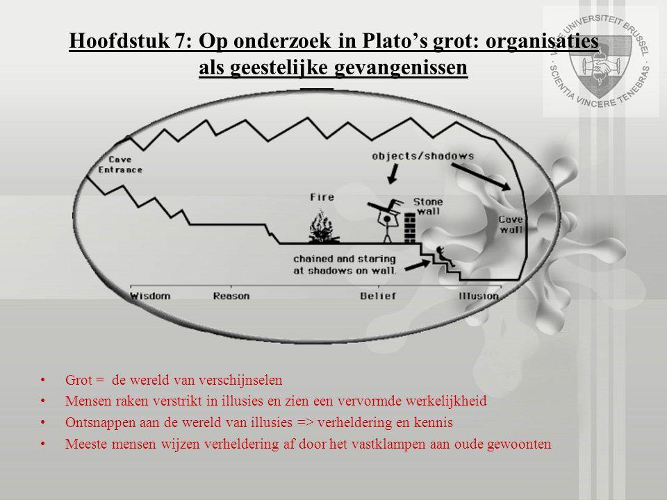 Hoofdstuk 7: Op onderzoek in Plato's grot: organisaties als geestelijke gevangenissen Grot = de wereld van verschijnselen Mensen raken verstrikt in il