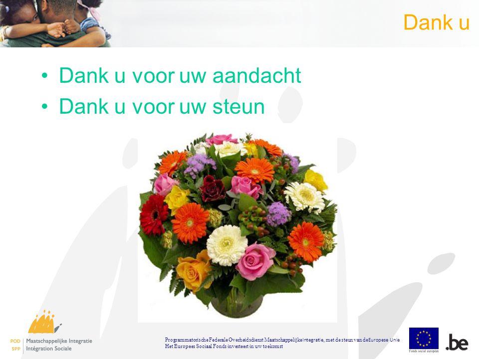 Dank u Dank u voor uw aandacht Dank u voor uw steun Programmatorische Federale Overheidsdienst Maatschappelijke Integratie, met de steun van de Europese Unie Het Europees Sociaal Fonds investeert in uw toekomst
