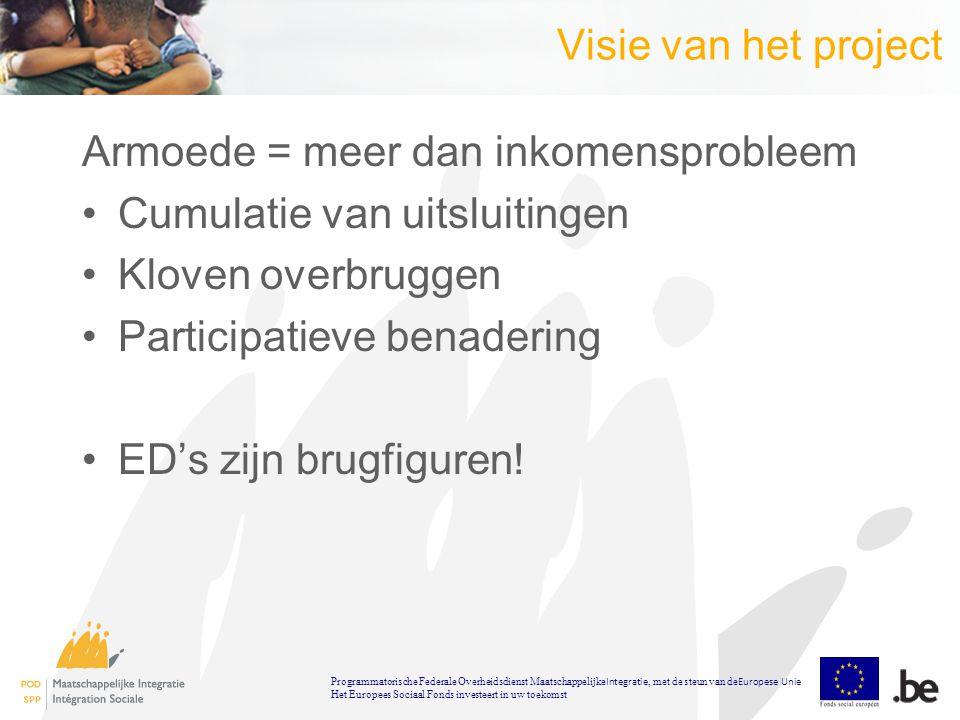 Visie van het project Armoede = meer dan inkomensprobleem Cumulatie van uitsluitingen Kloven overbruggen Participatieve benadering ED's zijn brugfiguren.