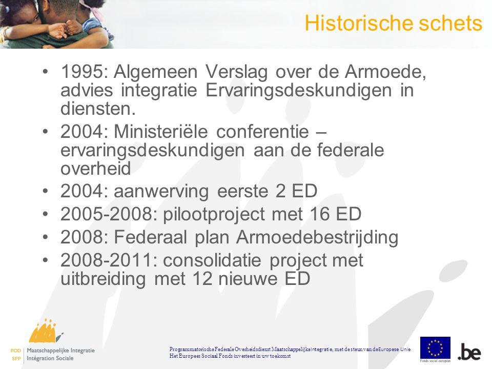 Historische schets 1995: Algemeen Verslag over de Armoede, advies integratie Ervaringsdeskundigen in diensten.