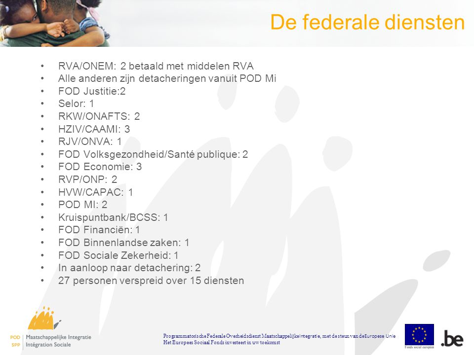 De federale diensten RVA/ONEM: 2 betaald met middelen RVA Alle anderen zijn detacheringen vanuit POD Mi FOD Justitie:2 Selor: 1 RKW/ONAFTS: 2 HZIV/CAAMI: 3 RJV/ONVA: 1 FOD Volksgezondheid/Santé publique: 2 FOD Economie: 3 RVP/ONP: 2 HVW/CAPAC: 1 POD MI: 2 Kruispuntbank/BCSS: 1 FOD Financiën: 1 FOD Binnenlandse zaken: 1 FOD Sociale Zekerheid: 1 In aanloop naar detachering: 2 27 personen verspreid over 15 diensten Programmatorische Federale Overheidsdienst Maatschappelijke Integratie, met de steun van de Europese Unie Het Europees Sociaal Fonds investeert in uw toekomst