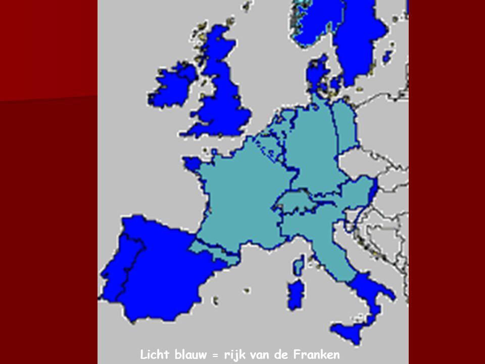 Licht blauw = rijk van de Franken