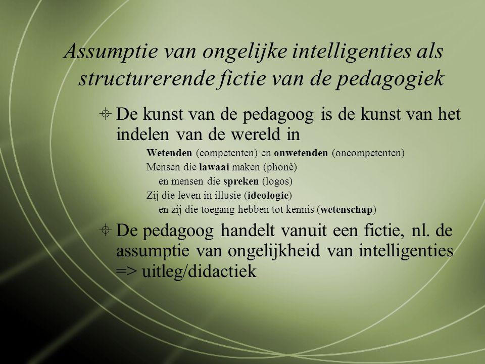 Assumptie van ongelijke intelligenties als structurerende fictie van de pedagogiek  De kunst van de pedagoog is de kunst van het indelen van de wereld in Wetenden (competenten) en onwetenden (oncompetenten) Mensen die lawaai maken (phonè) en mensen die spreken (logos) Zij die leven in illusie (ideologie) en zij die toegang hebben tot kennis (wetenschap)  De pedagoog handelt vanuit een fictie, nl.