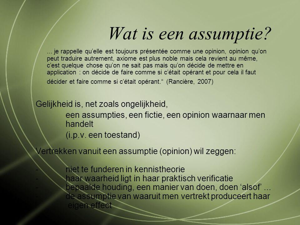Wat is een assumptie?...