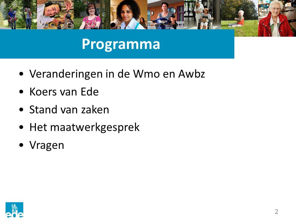2 Programma Veranderingen in de Wmo en Awbz Koers van Ede Stand van zaken Het maatwerkgesprek Vragen